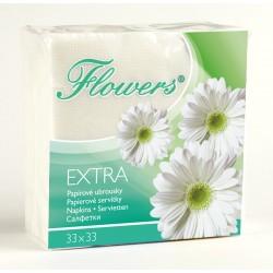 Ubr. Flowers 1vr. , 33x33, 135g, cel. bílé