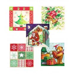 Ubr. Vánoce 1vr. , 33x33 , 20 ks, mix vzorů
