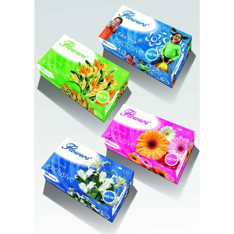 Kosmetické ut. Flowers 2vr. , 100 ks.,cel.-MIX