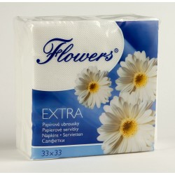 Ubr. Flowers 1vr. , 33x33, 145g, cel. bílé