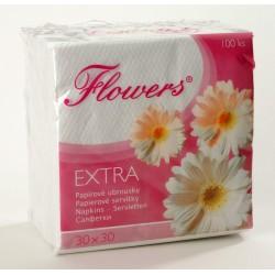 Ubr. Flowers 1vr. , 30x30, 100 ks, cel. bílé
